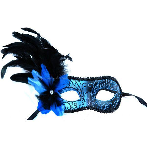 BLUE BRAIDED EYEMASK SIDE FLOWER MASQUERADE Womens Ladies Fancy Dress Costume