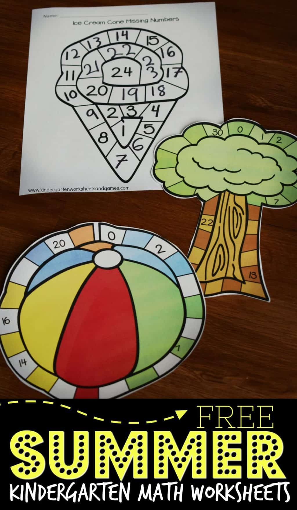 Free Summer Kindergarten Math Worksheets Super Cute Counting Worksheets To Help Kindergart Kindergarten Math Worksheets Kindergarten Math Summer Kindergarten [ 1758 x 1024 Pixel ]