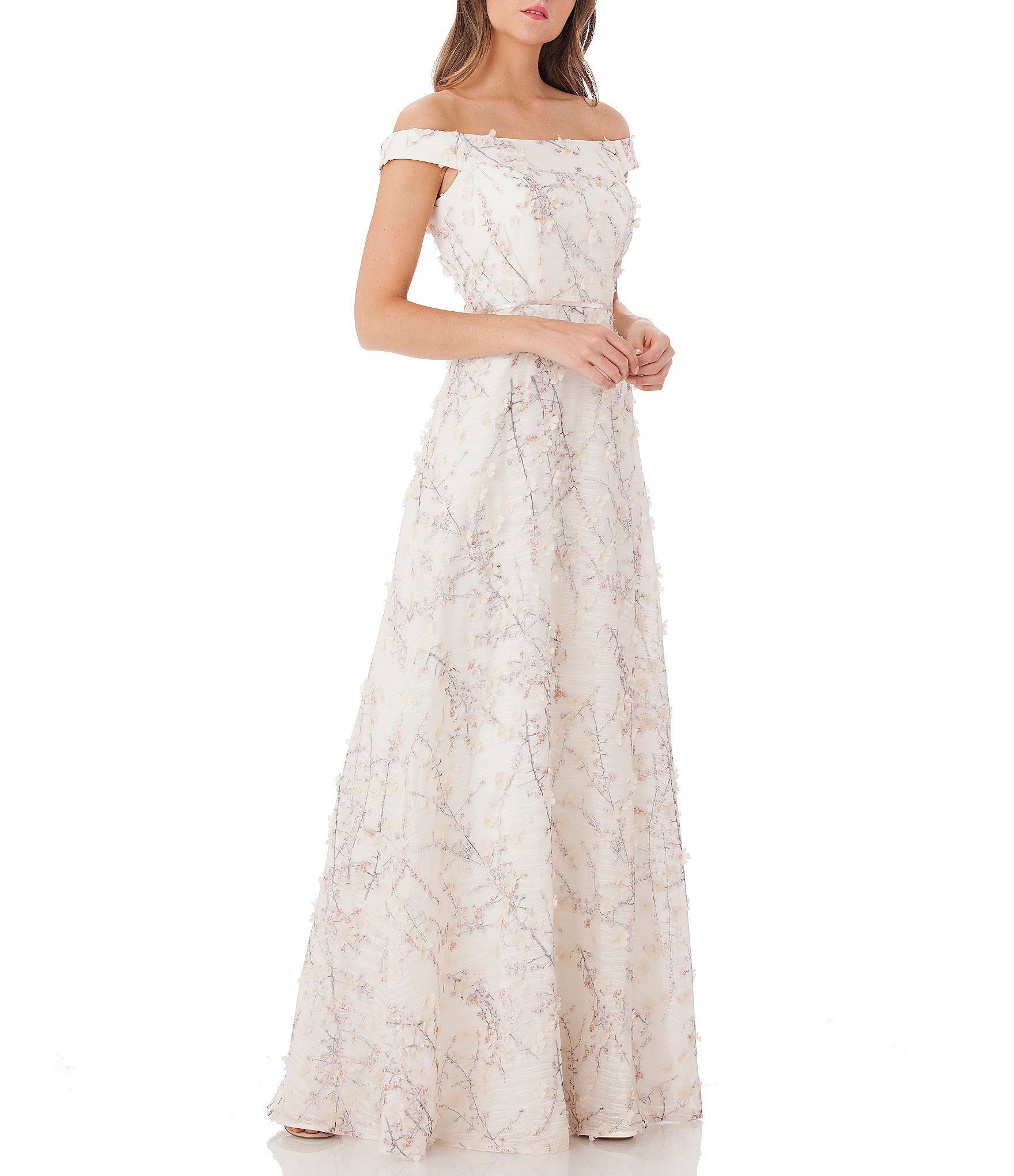 96a4ae92901 Shop for Carmen Marc Valvo Off the Shoulder Embroidered Gown at Dillards.com.  Visit Dillards.com to find clothing