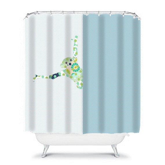 Kids Shower Curtain Bathroom Monkey Blue Decor Fabric Curtai