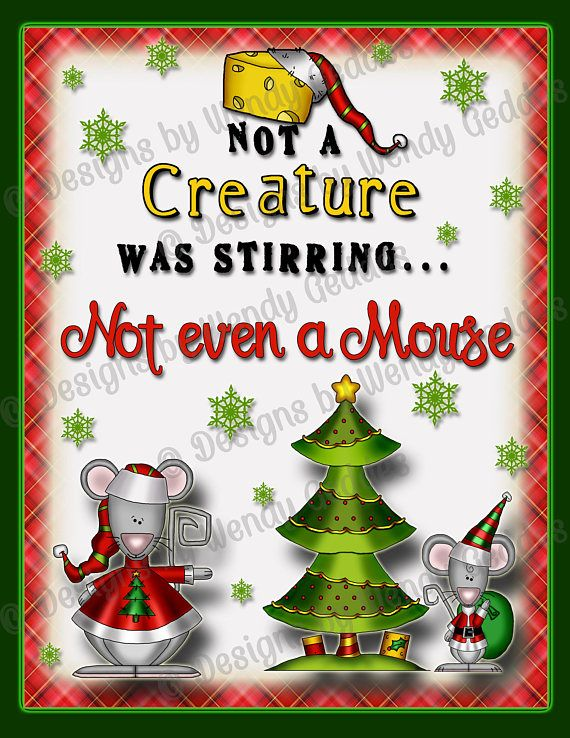 Printable - Not a creature was stirring not even a mouse 8x10 Graphic - printable wall art