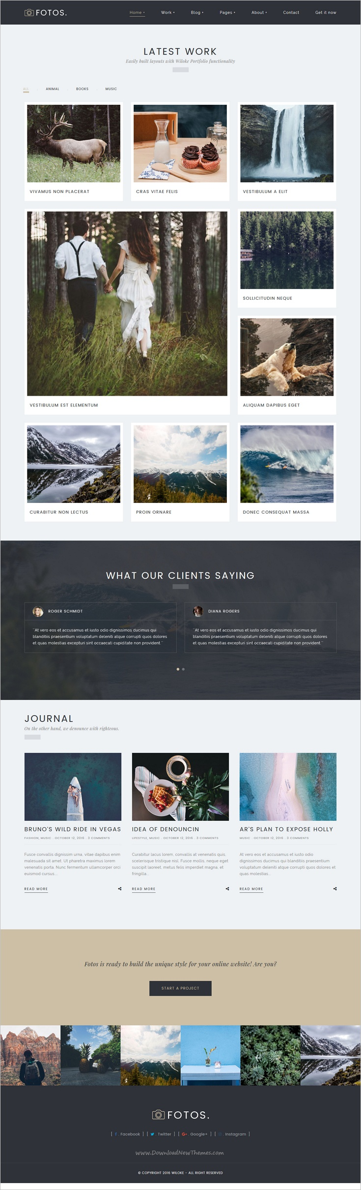 Fotos is a delicate, responsive #WordPress portfolio #theme ideal for 🎨showcasing photography, #design, and other visuals-rich work website download now➩  https://themeforest.net/item/fotos-photography-photography-wordpress/18603554?ref=Datasata