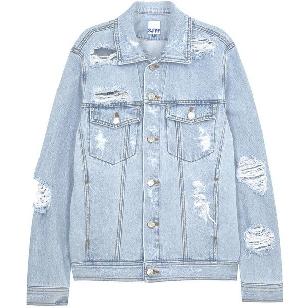 0dbcd7367dad3 Womens Casual Jackets SJYP Pale Blue Ripped Denim Jacket (£110) ❤ liked on  Polyvore featuring outerwear