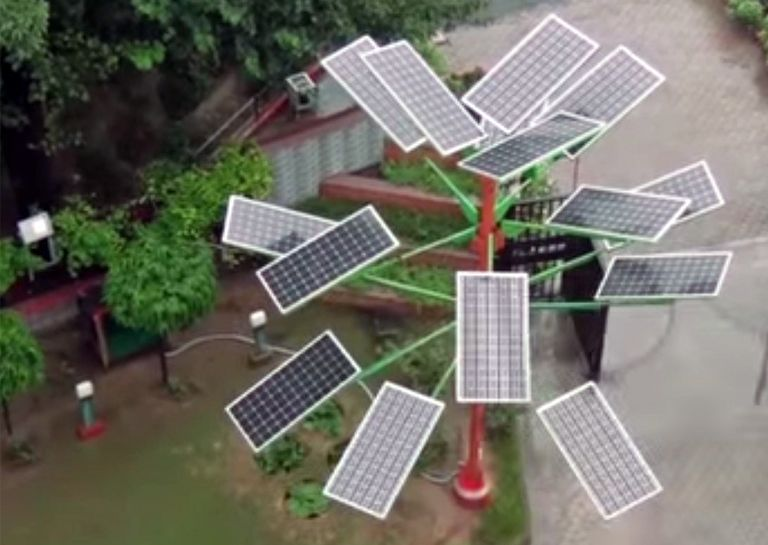 """Indian scientists have developed a """"solar tree"""" which can gather 10-15 percent more energy than usual layouts."""
