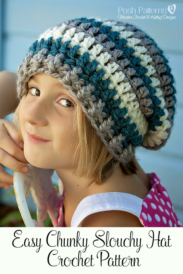b2f68155134 Crochet Pattern - A super cute and easy crochet slouchy hat pattern.  Perfect for babies
