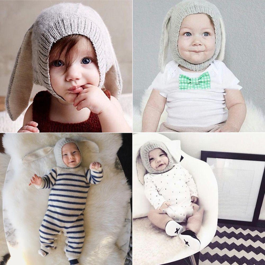 아기 모자 토끼 귀 니트 아이 모자 2016 가을 겨울 여자 아기 모자 사랑스러운 유아 유아 비니 아기 사진 소품