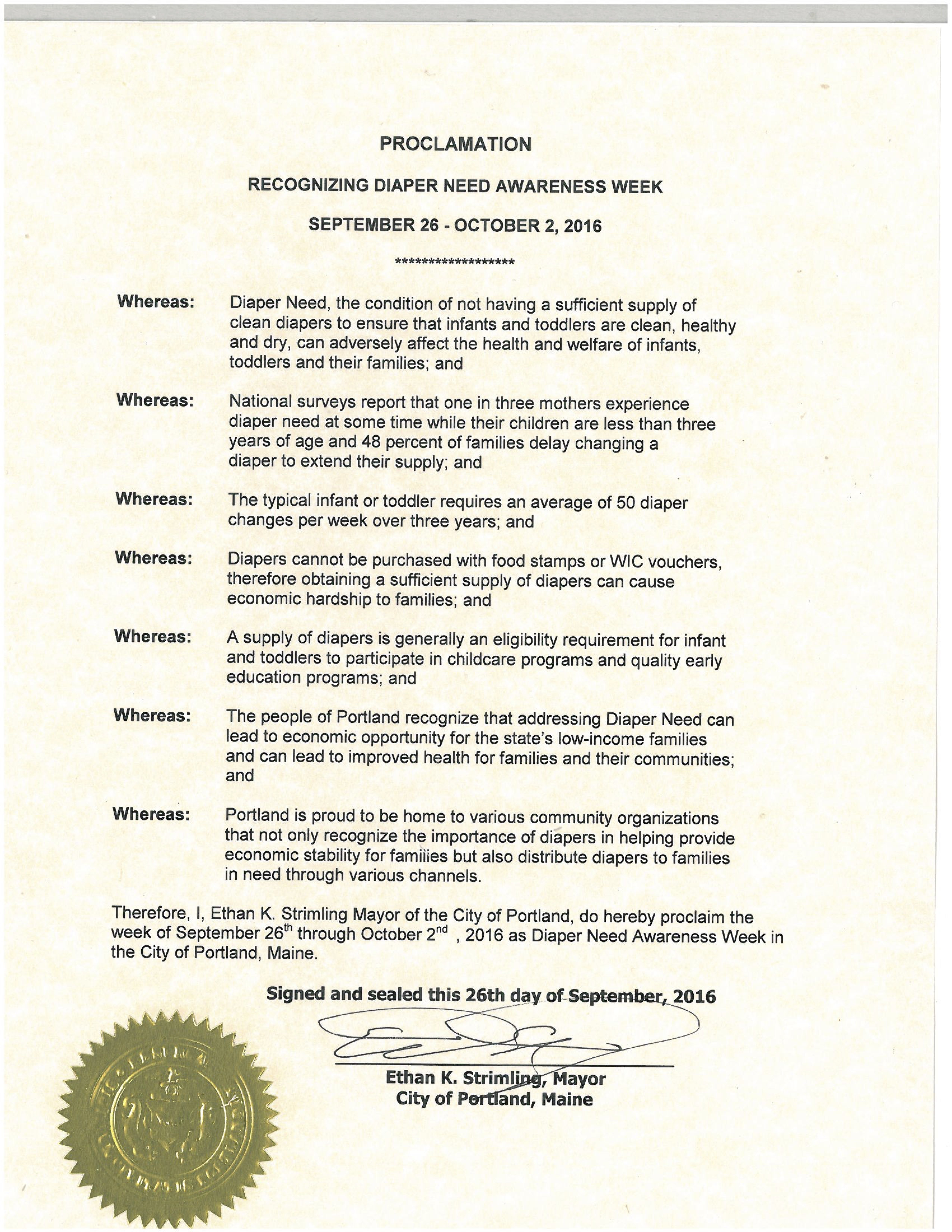 Portland, ME - Mayoral proclamation recognizing Diaper Need Awareness Week (Sept. 26 - Oct. 2, 2016) #DiaperNeed www.diaperneed.org
