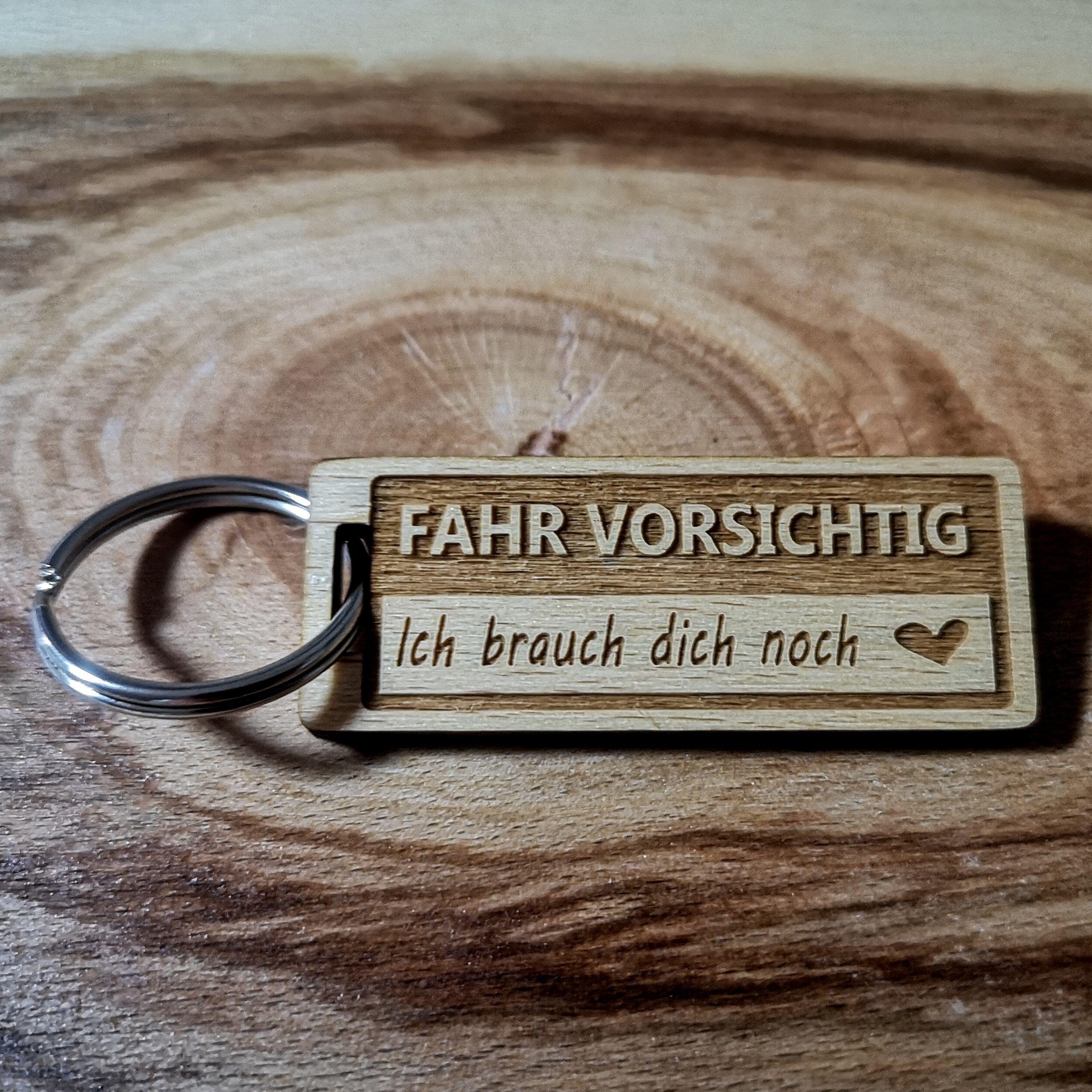 Fahr Vorsichtig Schlüsselanhänger aus Buchen-Holz Weihnachts-Geschenk #holzideen
