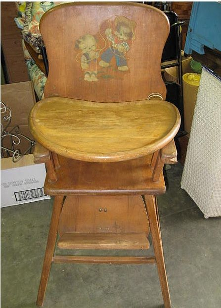 Antique Lehman Baby Guard Wood High Chair antique wooden high chair with  cowboy motif applique sticker - Pin By Teresa Whitney On Here Today! Gone Tomorrow! Mementos From