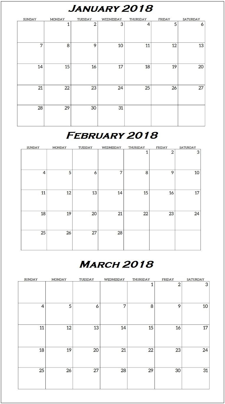 january to march 2018 quarterly calendar