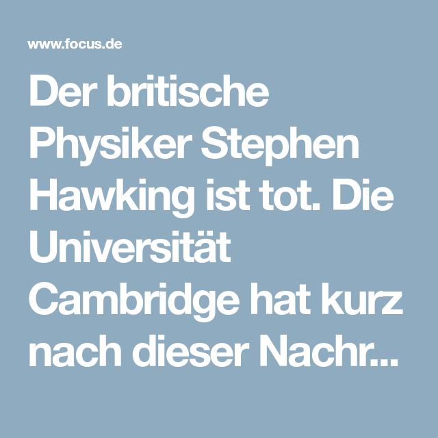 Veröffentlicht Nach Seinem Tod Stephen Hawkings Letzte Botschaft An