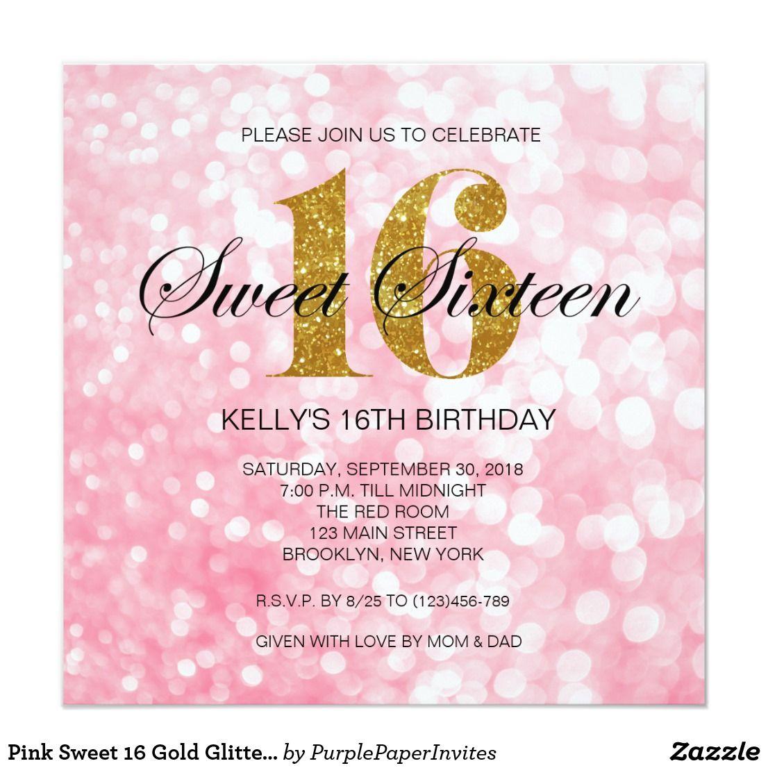 Pink Sweet 16 Gold Glitter Lights Invitation   Pink sweet 16, Sweet ...
