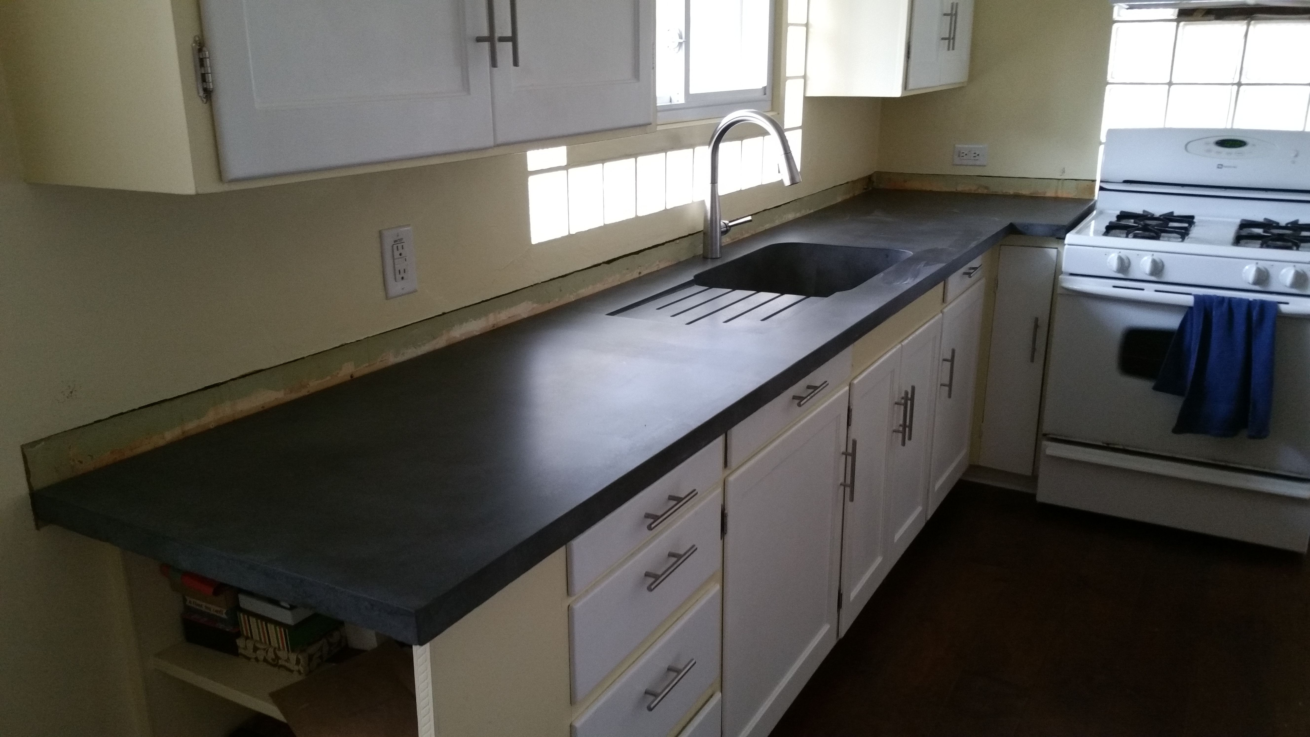 with sink countertop built concrete drainboard countertops pin and in kitchen