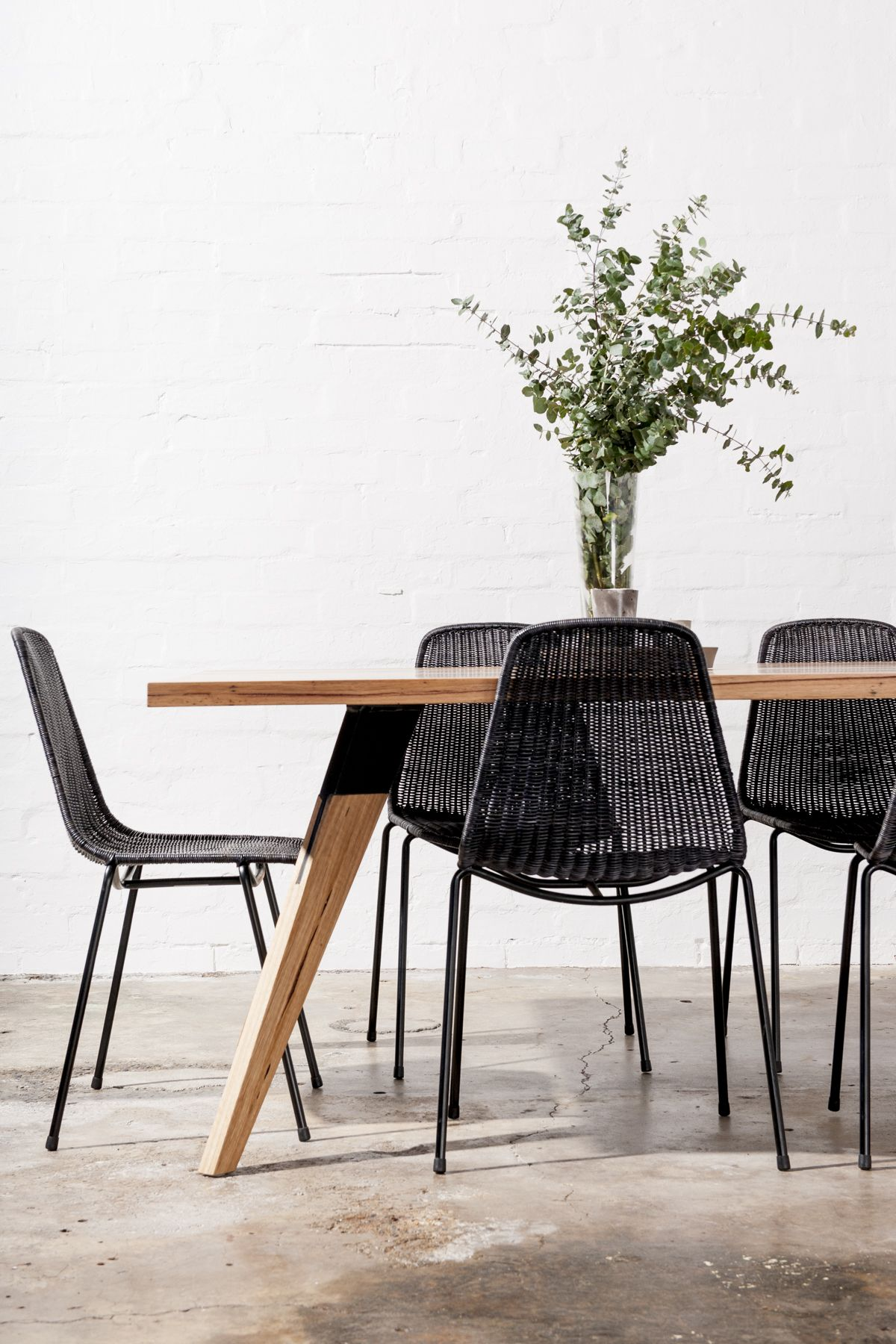 Mr Smith Modern Solid Timber Dining Table Basket Chair Bombora