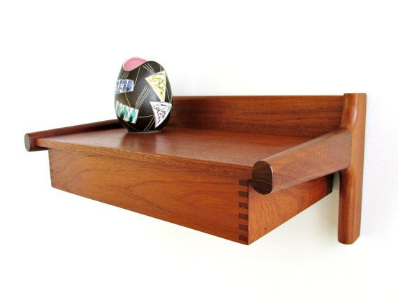 Contemporary Floating Wall Shelves mid century danish modern teak floating wall shelf with drawer
