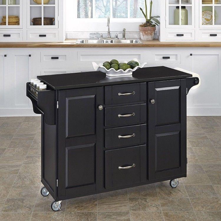 Granite Top Kitchen Cart Black Solid Wood Island Storage Cabinet Drawers Shelves Unbra White Kitchen Cart Kitchen Island With Granite Top Kitchen Tops Granite