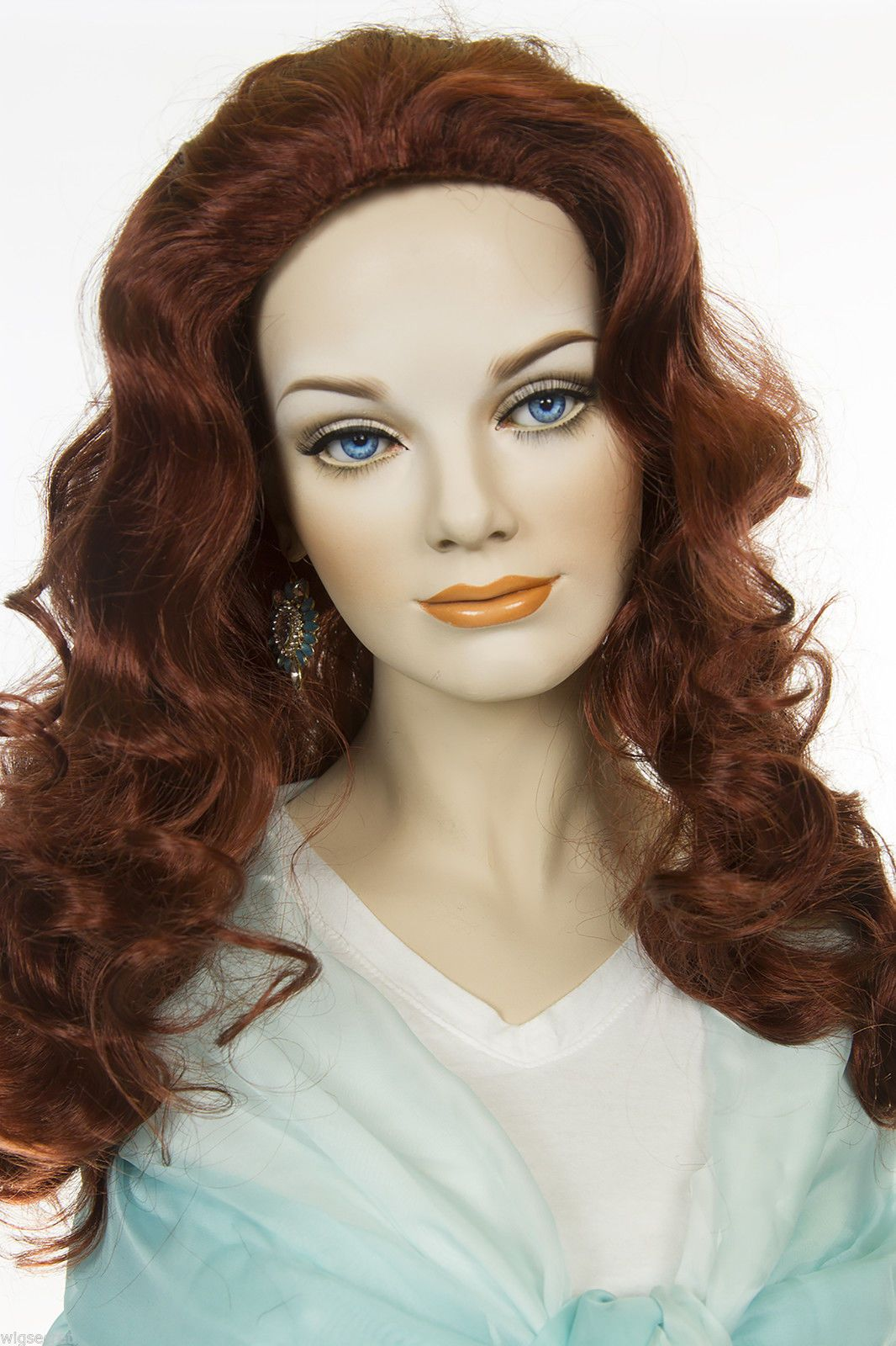 Fox Red Clear Cool Vivid Red Red Long Skin Top Wavy Curly Wigs 7bd189d06
