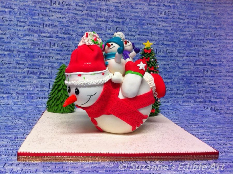 Sliding snowman - by Suzanne Jackman @ CakesDecor.com - cake decorating website