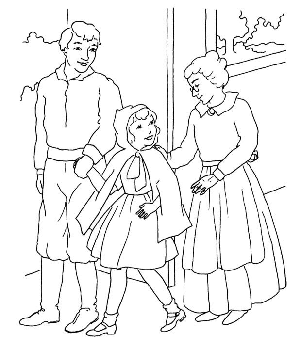 Little Red Riding Hood Was With Mom And Dad Coloring Page For Kids