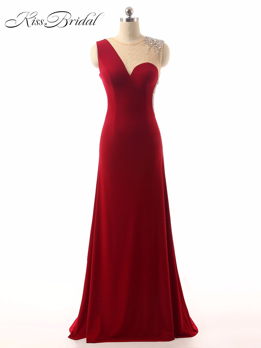 sexy evening dresses bride banquet sheer scoop neck sleeveless