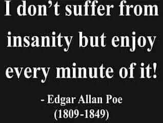 i don t suffer from insanity but enjoy every minute of it edgar allan acircmiddot i don t suffer from insanity but enjoy every minute of it
