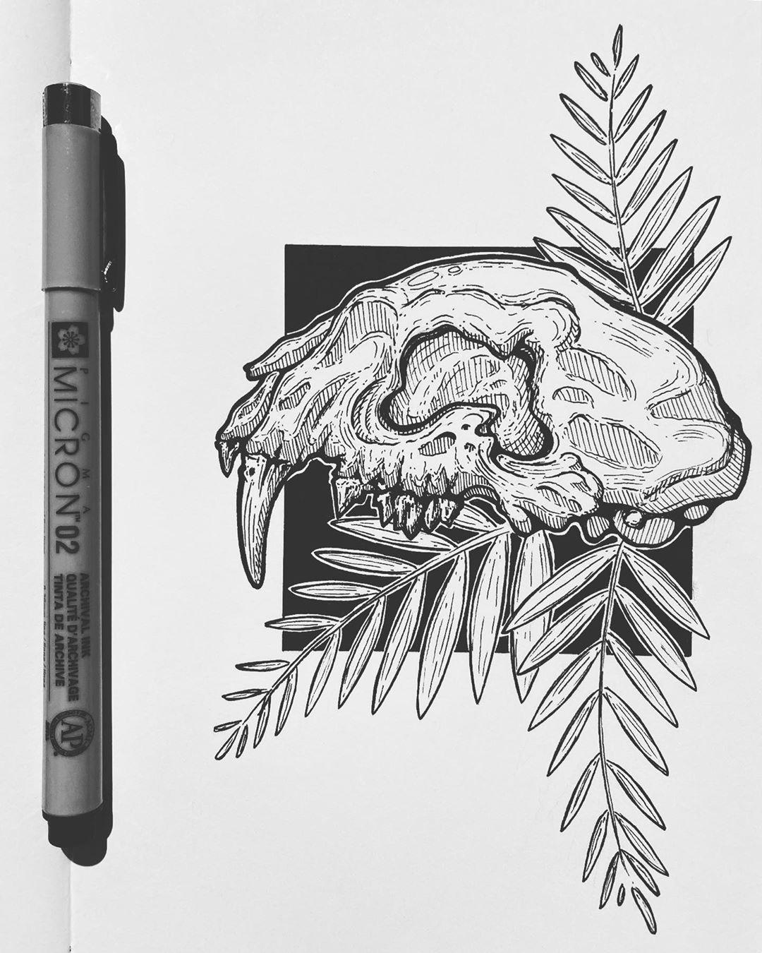 Inspired by a Lynx skull which have some huge eye sockets! . . . . . . . . . . . #moleskine #pigma #pigmamicron #sakuraofamerica #sketchbook #moleskinesketch #micronpen #artdaily #inking #blackworks #illustration #sketching #linework #crosshatching #inktime #inkwork #micron #dailydraw #draw #artistsofinstagram #staedtler #moleskinesketchbook #linework #sketch #inkpage #blackwork #artoftheday #inkart #ink #blackworker