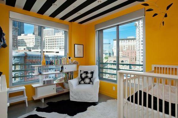 Zeitgenössische Deckendekoration   Der Trendige Streifen   Tapezieren Ideen  Jugendzimmer