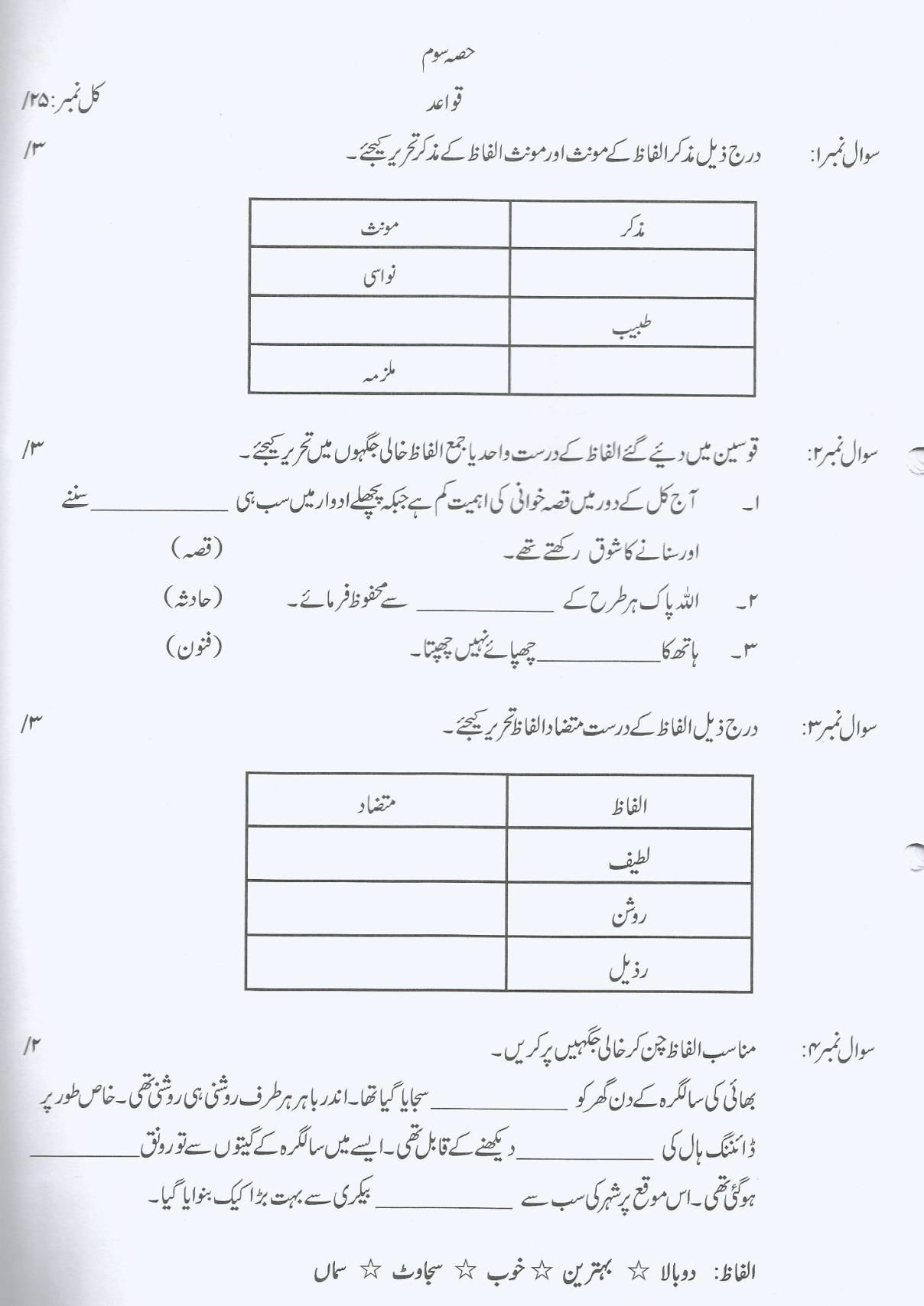 hight resolution of Urdu Past Paper (Grade – 7)   Past papers