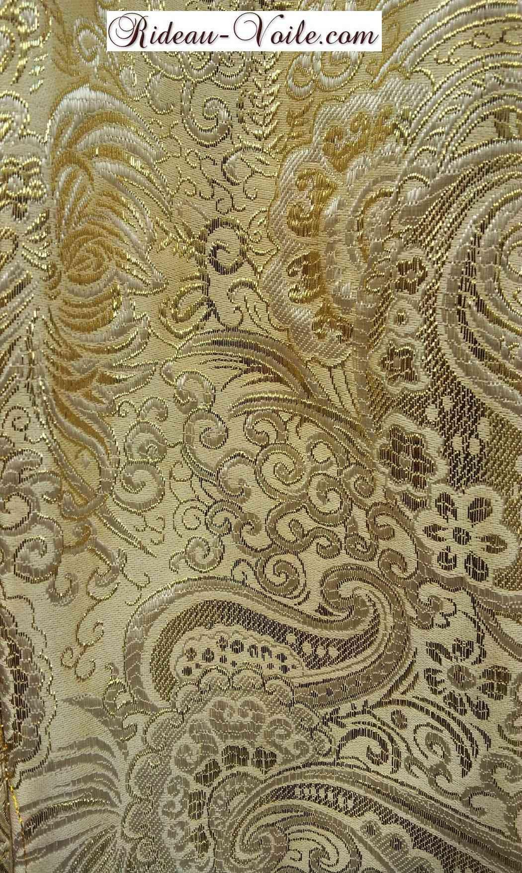 rideau brocart haut gamme jaune or