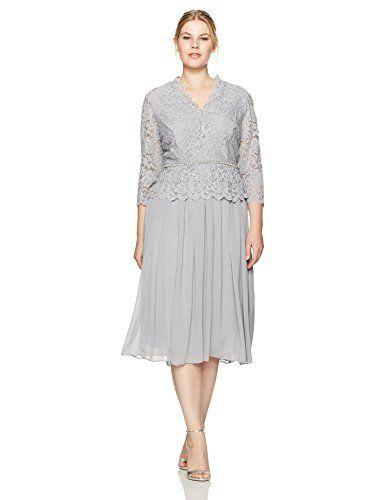 fcf8257a7af  106.27 - Alex Evenings Women s Plus Size Faux-Wrap Mock Lace Dress with T-Length  Skirt