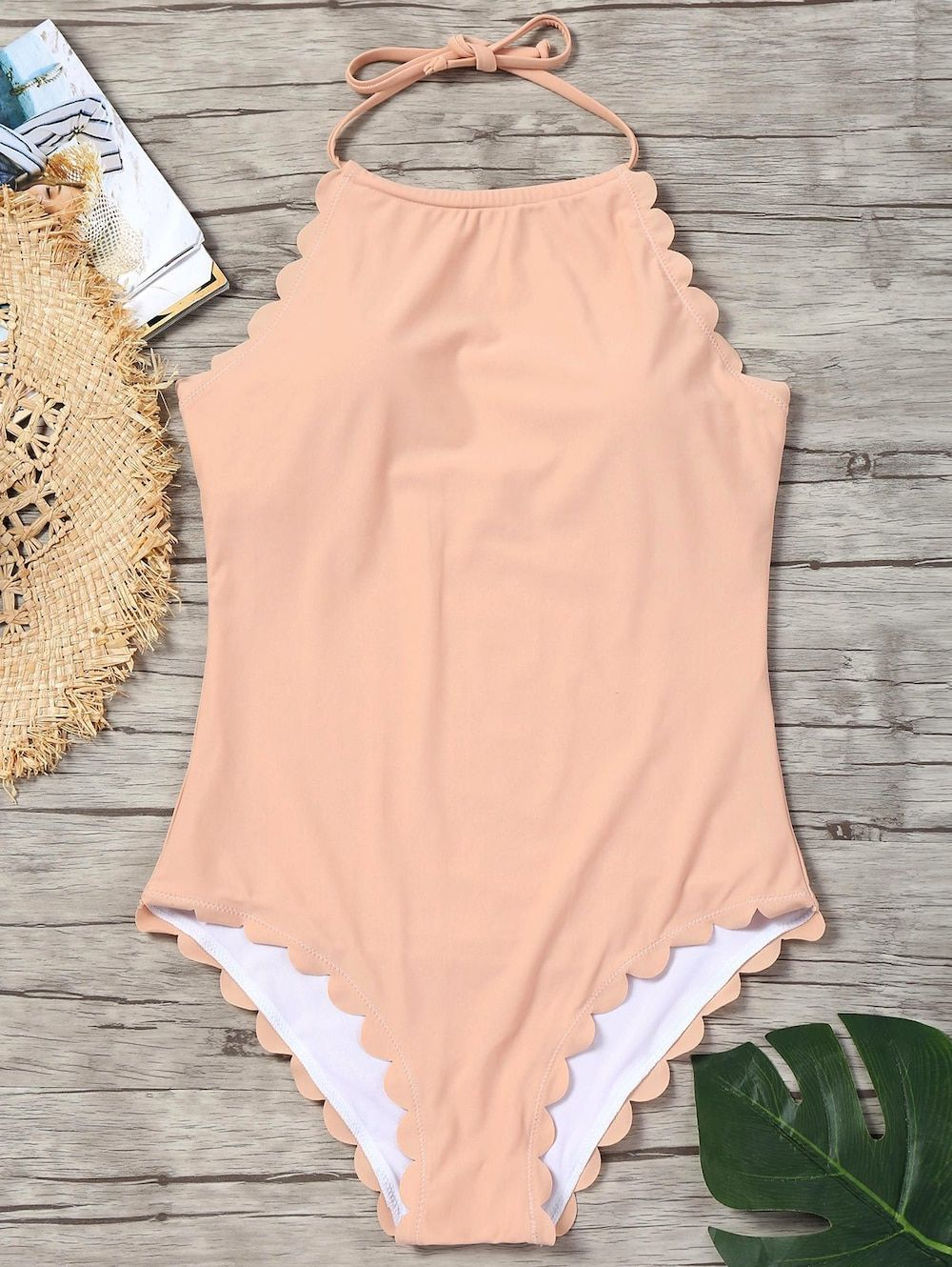 Scallop Trim One Piece Swimsuit