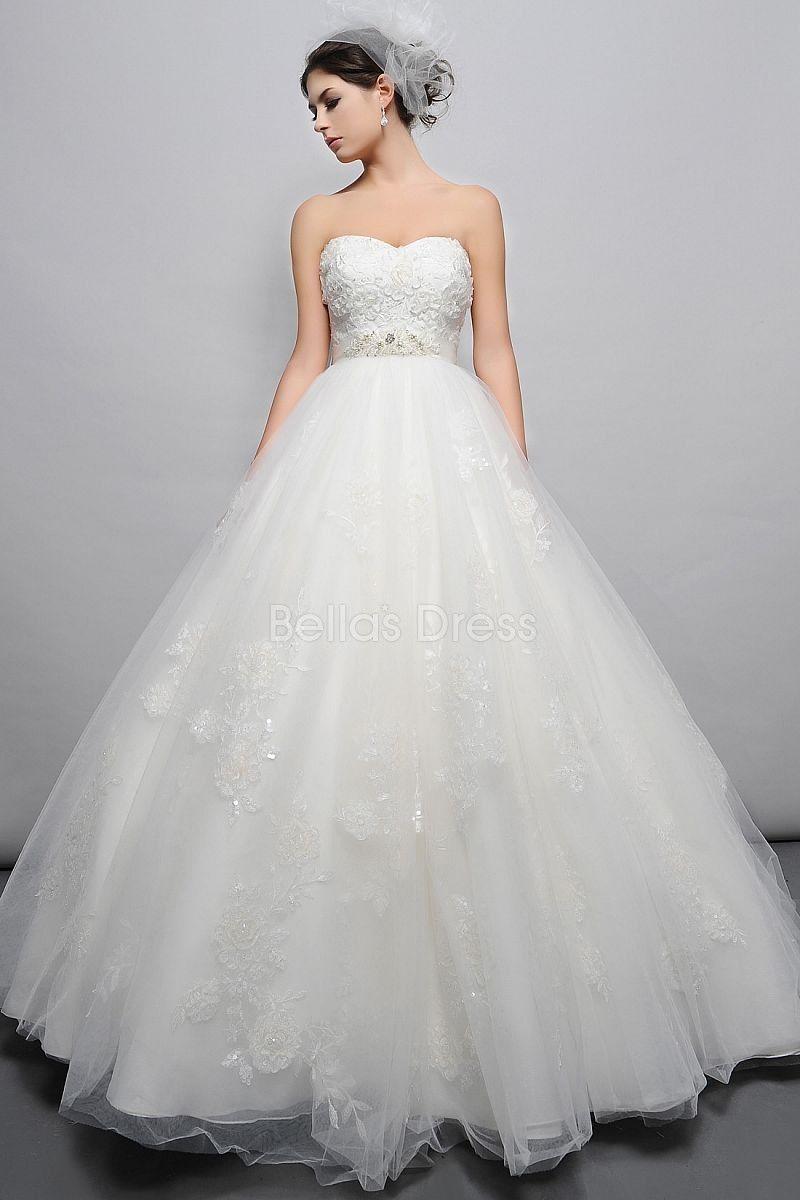 Dramatic Floor Length Tulle Ball Gown Sweetheart Empire Waist ...