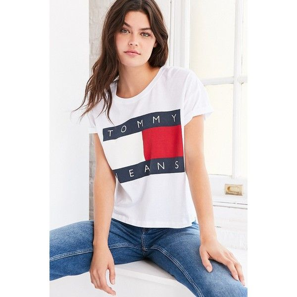 Tommy Jeans For UO 90s Tee ( 50) ❤ liked on Polyvore featuring tops,  t-shirts, crop top, boxy tee, white logo t shirts, tommy hilfiger t shirts  and white ... 03eb855ea5