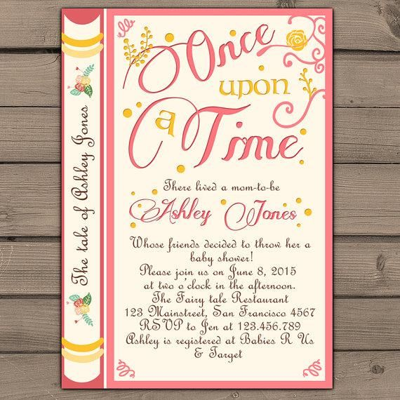 Once upon a time baby shower invitation shower invite pink coral once upon a time baby shower invitation shower invite pink coral yellow fairy tales storybook baby filmwisefo Gallery