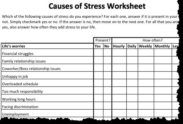 Stress Reduction Worksheets Worksheets For School – Stress Worksheet
