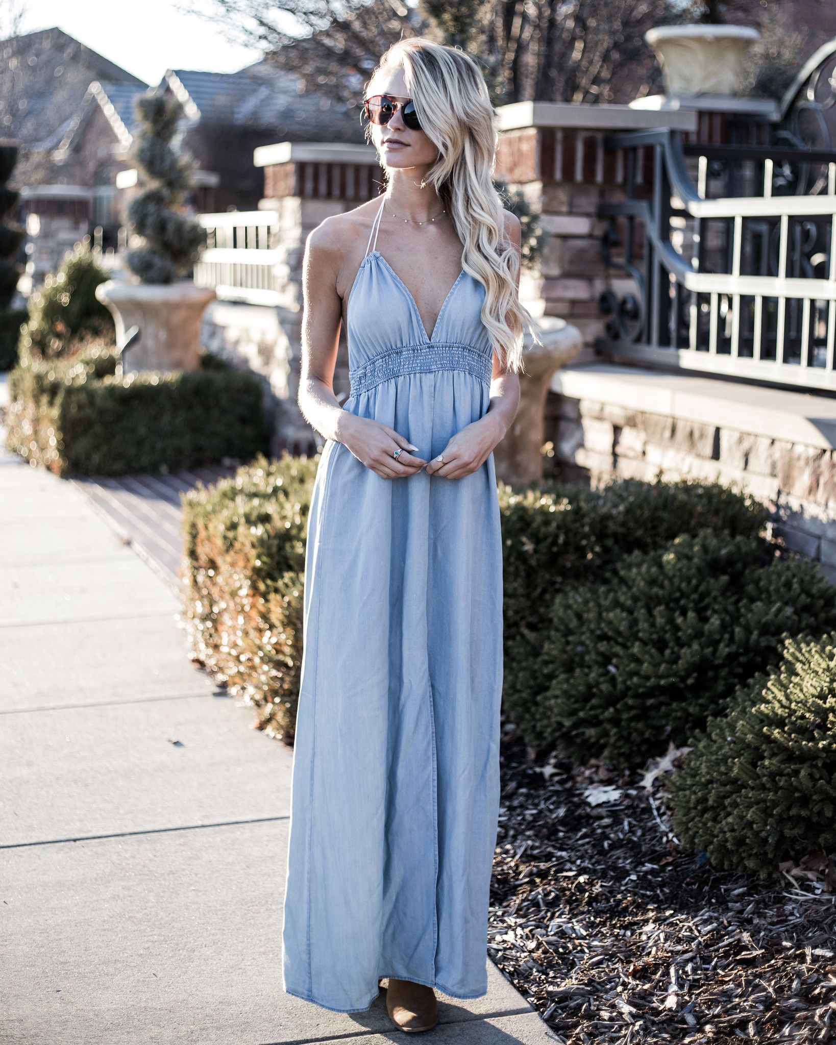 Gwen Halter Tencel Maxi Dress