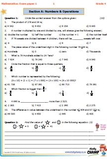 Mathematics : Grade 4 Maths: Exam paper 1   tessa   4th grade math ...