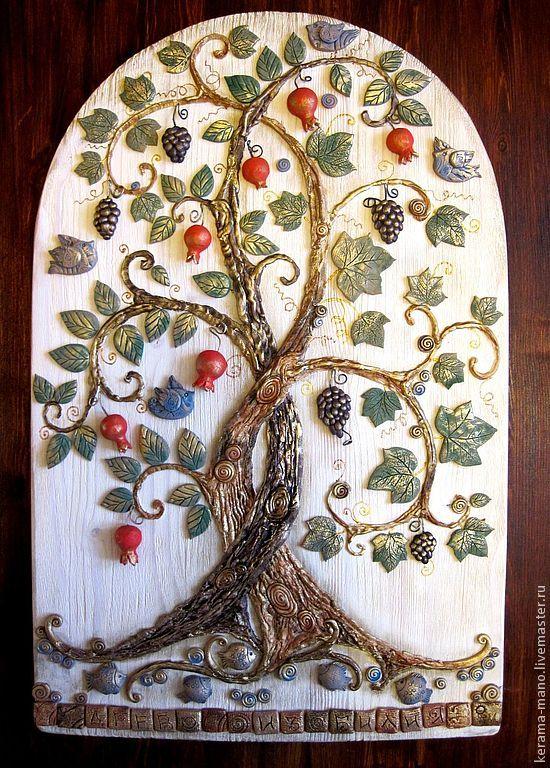 """Купить """"Древо изобилия"""" панно - древо жизни, богатство, символизм, гранатовый, гранат, виноградная гроздь"""
