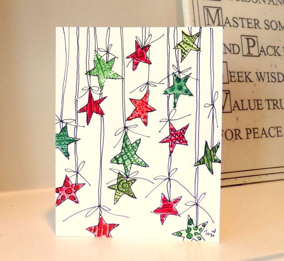 christmas stars watercolor original 4 x 6 card von. Black Bedroom Furniture Sets. Home Design Ideas