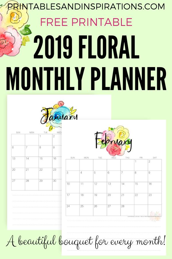 free 2019 calendar for a beautiful year regalos originales agendas y imprimir sobres. Black Bedroom Furniture Sets. Home Design Ideas