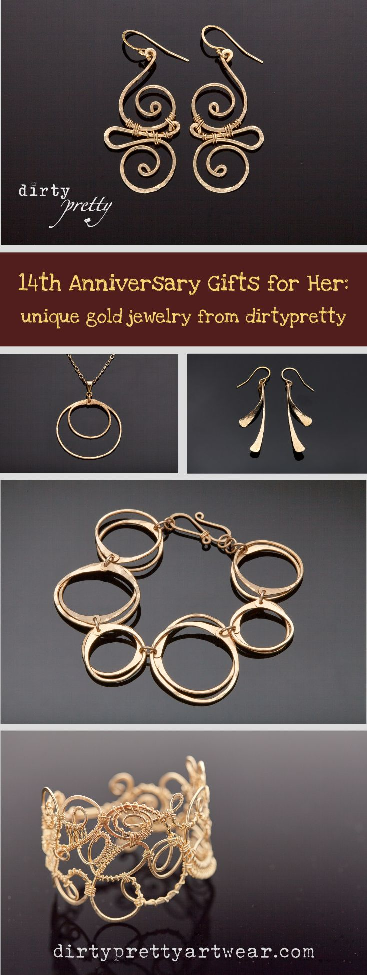 14th Anniversary Gifts for Her unique gold jewelry for