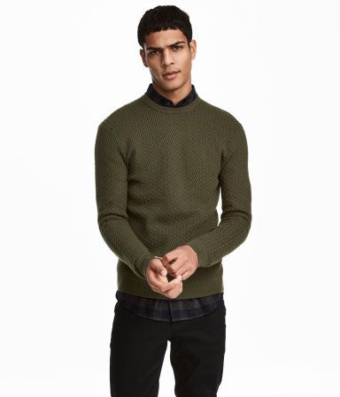 Knit Cotton-blend Sweater   Dark khaki green   MEN   H M US   2017 ... e31980c556