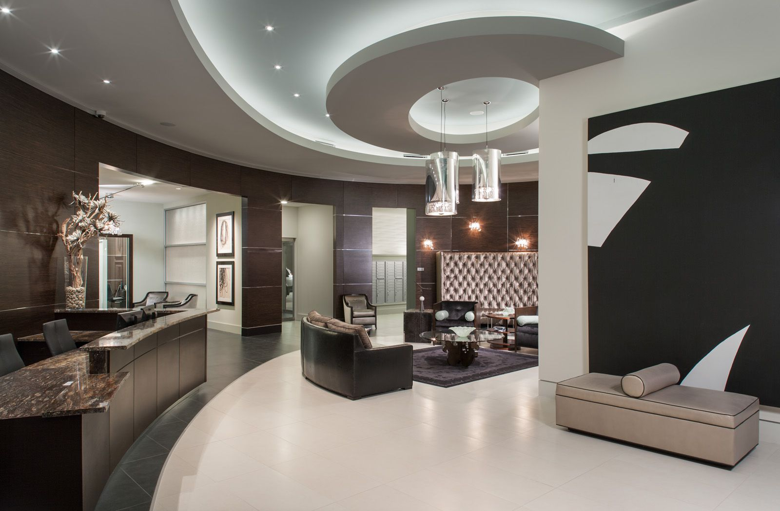 Designed by Faulkner Design Group clubroom lobby