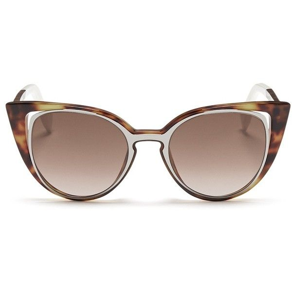 0775c7695e36 Fendi  Paradeyes  inset metal rim tortoiseshell acetate sunglasses (126.195  HUF) ❤ liked on Polyvore featuring accessories