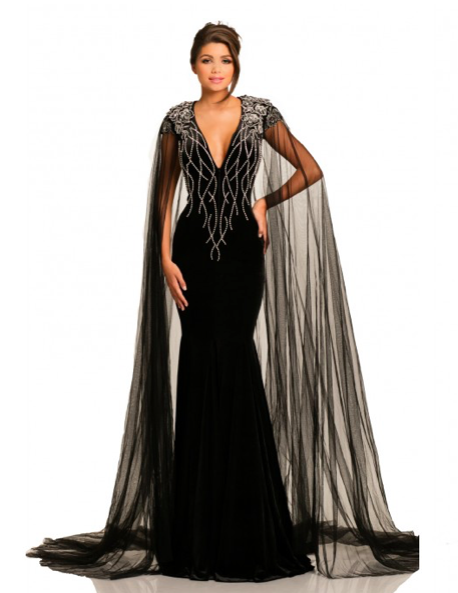 cf4ca88da9f3 Johnathan Kayne Black Fitted Dress with silver beading and chiffon cape  Ypsilon Dresses Pageant Red Carpet Special Occasion Formal Formalwear