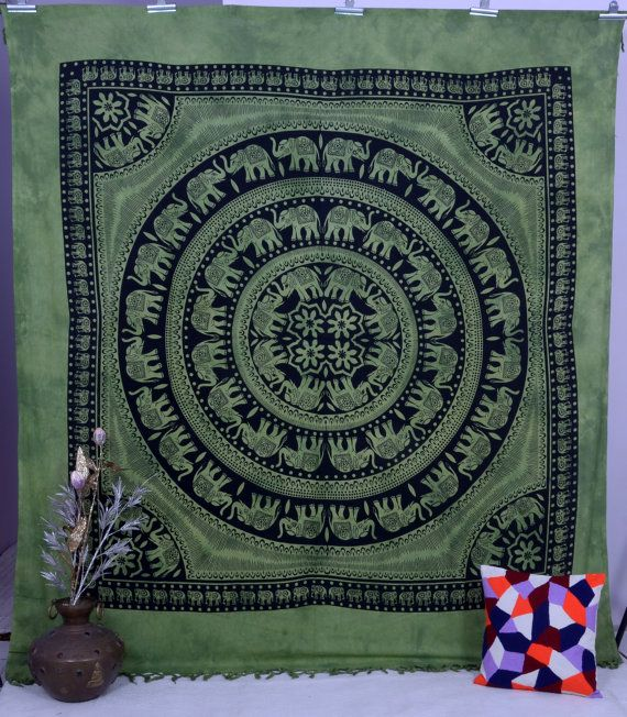 Beautiful Green Base on Black Indian Screen Printed Cotton Bedspread Tapestry in Elephant Print. This gorgeous piece of art can be used as -Tapestry