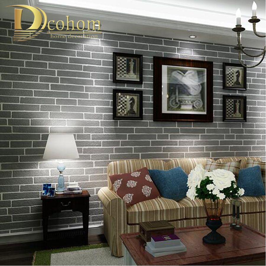 Modern Brown Grey White Black Brick Wallpaper For Walls 3 ...
