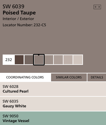 2017 color of the year poised taupe image courtesy of - Sherwin williams exterior paint colors 2017 ...