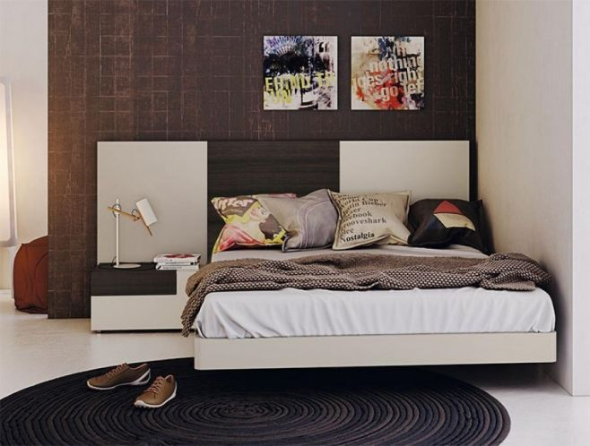 Sabate Freedom Contemporary Bed with Bi-Colour Headboard and ...
