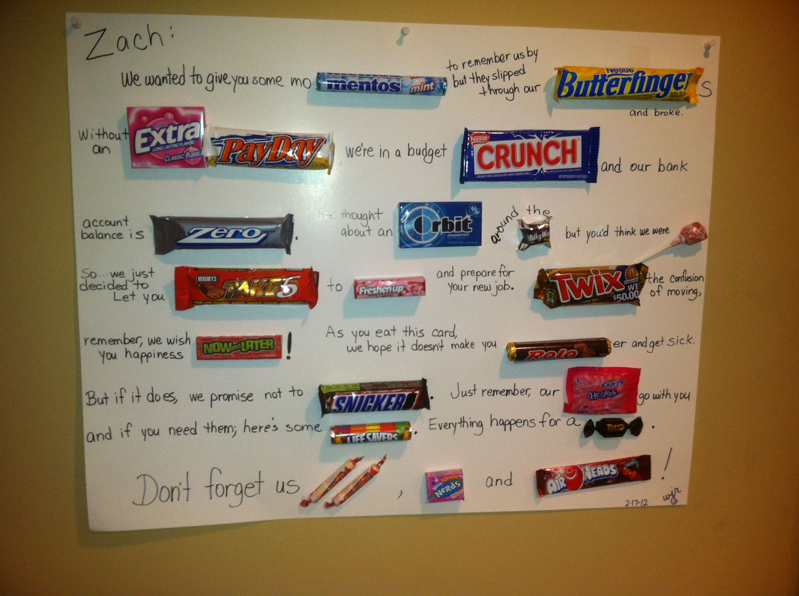Going away card for co-worker (Zach) | Family | Moving ...